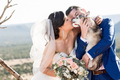 Blame Her Ranch Wedding Dog Kiss