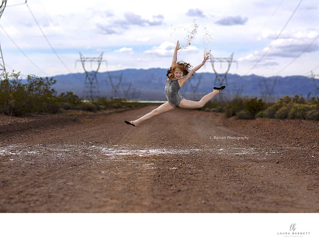 Las Vegas Family Photographer gymnastic jump