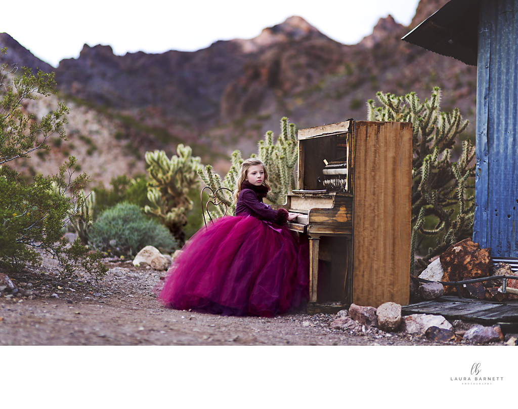 Las Vegas Family Photographer girl and piano
