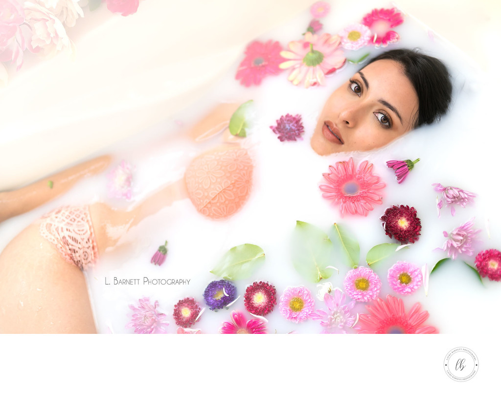 Las Vegas Photographer portrait milk bath boudoir