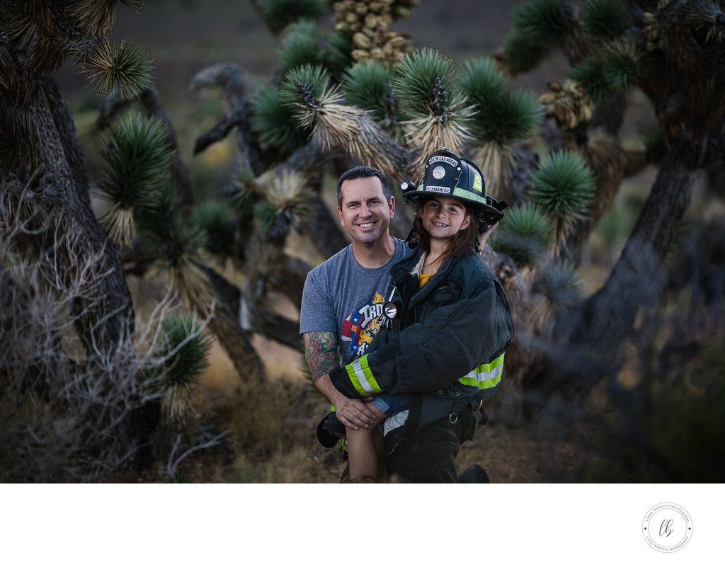 Las Vegas Family Photographer - Dad with daughter fire