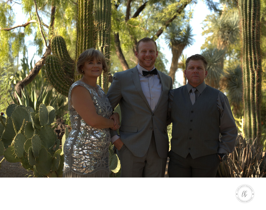 Las Vegas Wedding Groom with Parents Formal Portraits