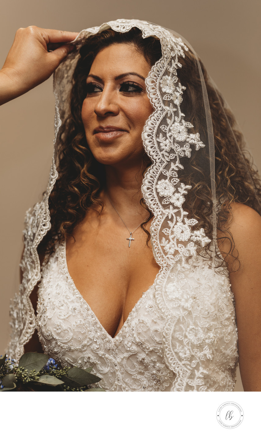 Bride with a veil over her hair