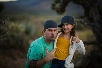 Las Vegas Family Photographer daddy and daughter hats