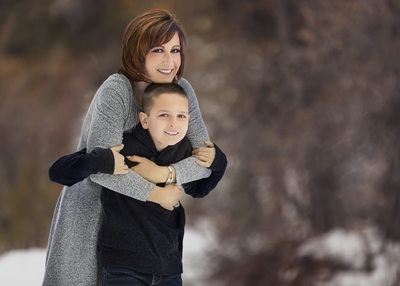 Las Vegas Family Photographer snow mommy and son