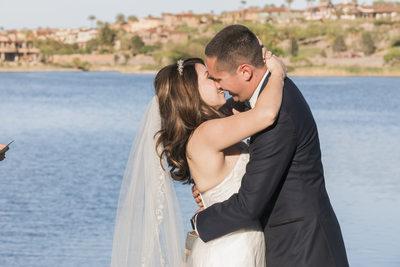 Las Vegas Wedding Photographer- bride groom lake