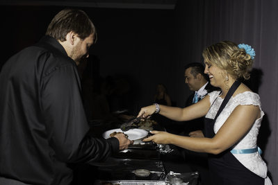 Las Vegas Wedding, Bride and groom serve the guest