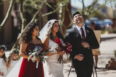 Las Vegas Wedding Photographer-bride with children aisle