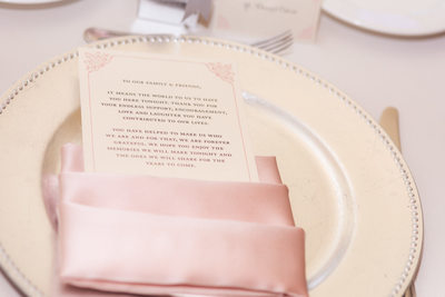Las Vegas Wedding menu in pink napkin