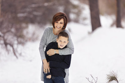 Las Vegas Family Photographer mom and son in snow