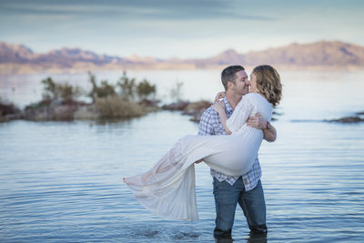 Las Vegas Couple at the lake. Husband holding wife