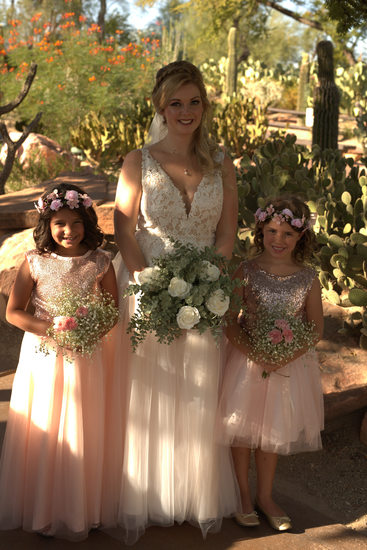 Las Vegas Wedding Photography bride with flower girls