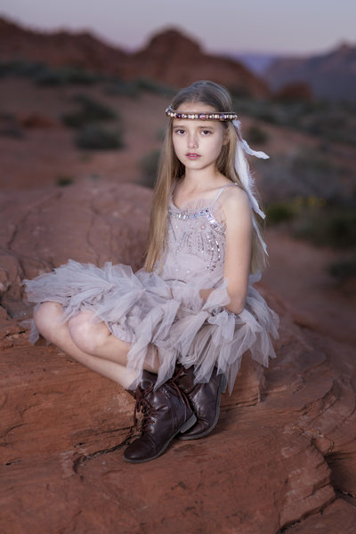 Las Vegas Family Photographer girl with feathers