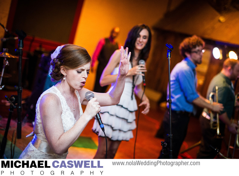 Bride Sings with the Band