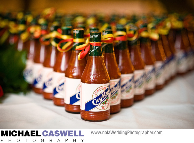 Crystal Hot Sauce Wedding Favor Display