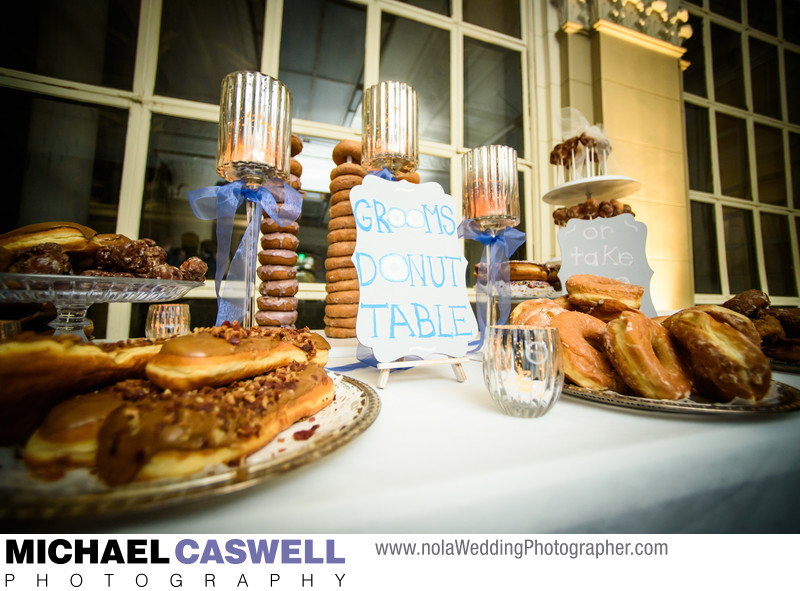 Groom's donut table at wedding
