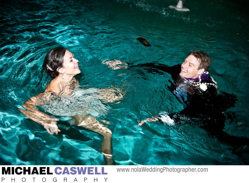 Bride and Groom in Pool