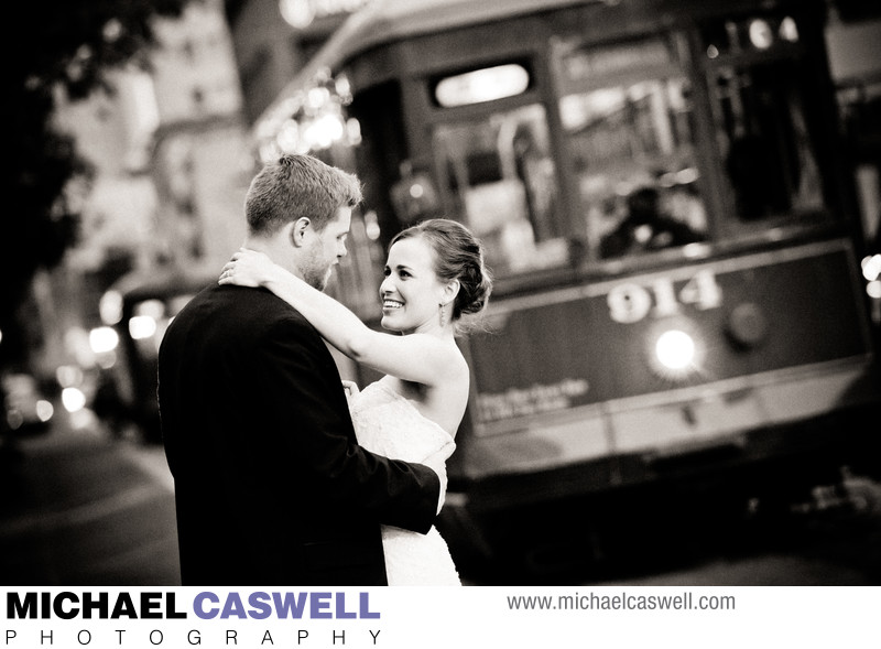 Bride and Groom with Streetcar