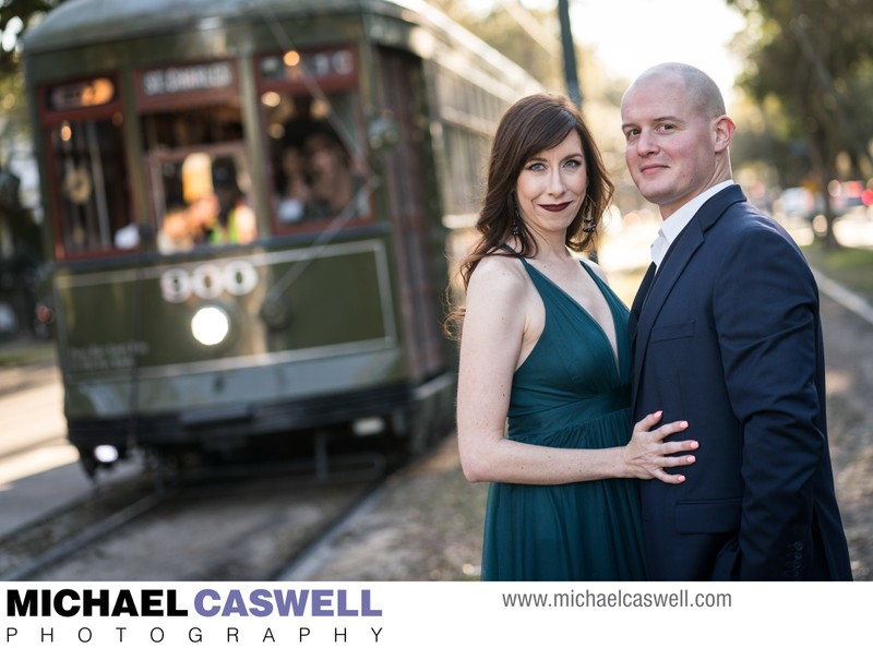 New Orleans Streetcar Engagement Portrait