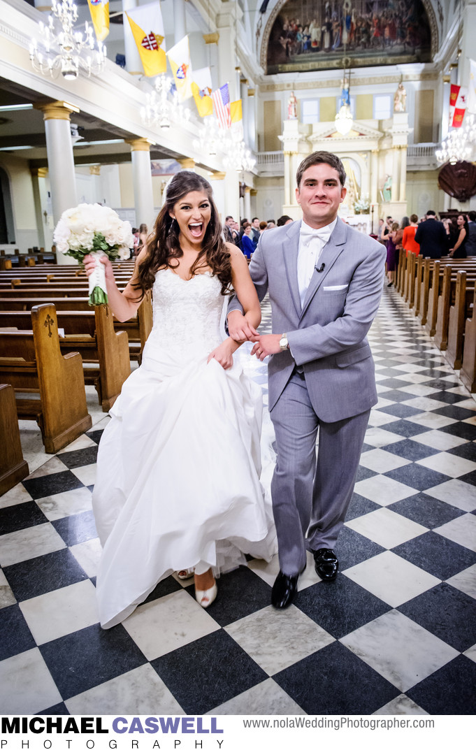 Newly Married Couple at Saint Louis Cathedral