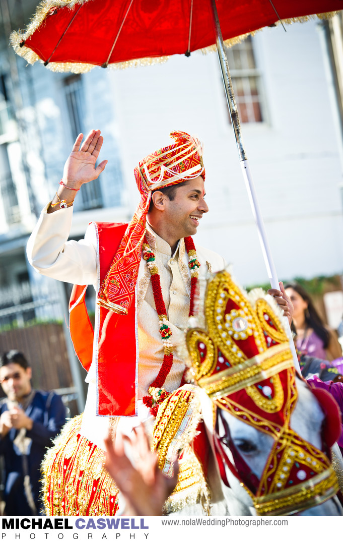 Indian Groom Arrives by Horse