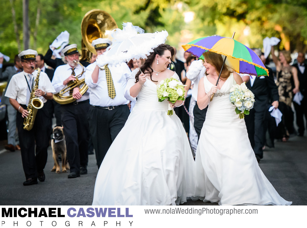 Same Sex Wedding in New Orleans Second Line Parade