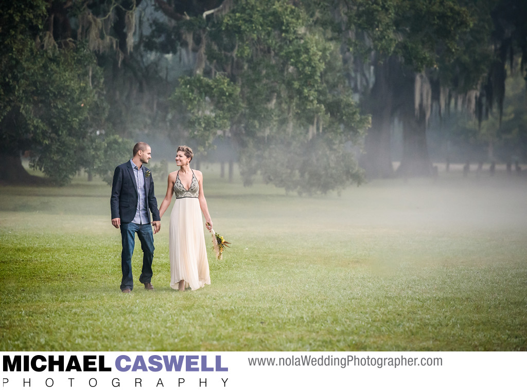 Portrait of Couple Eloping in New Orleans Audubon Park