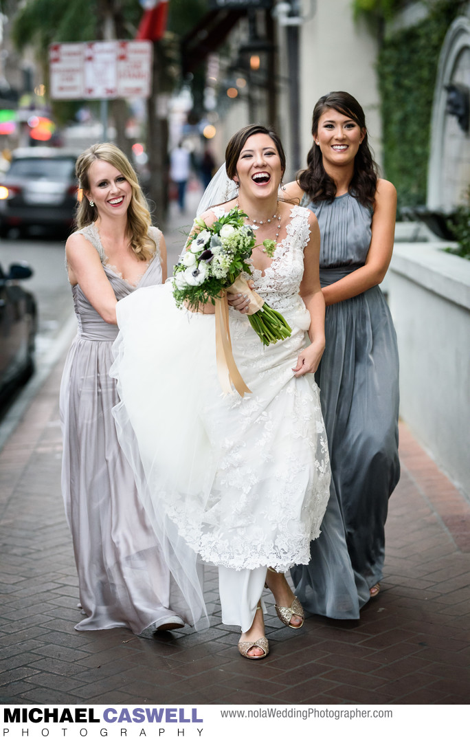 Bride Walks with Bridesmaids