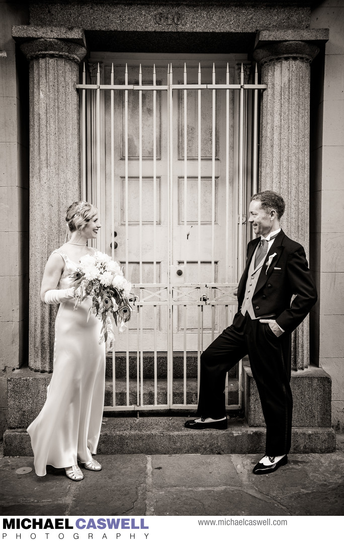 Bride and Groom Portrait in Pirate's Alley New Orleans