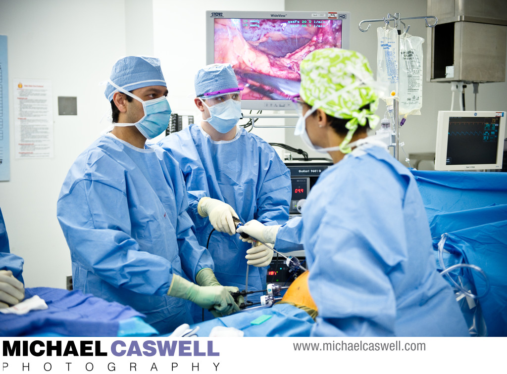 Surgeon performs endoscopic procedure