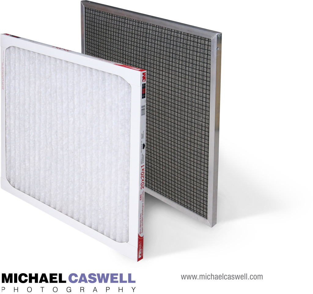 Product photography of HVAC filters