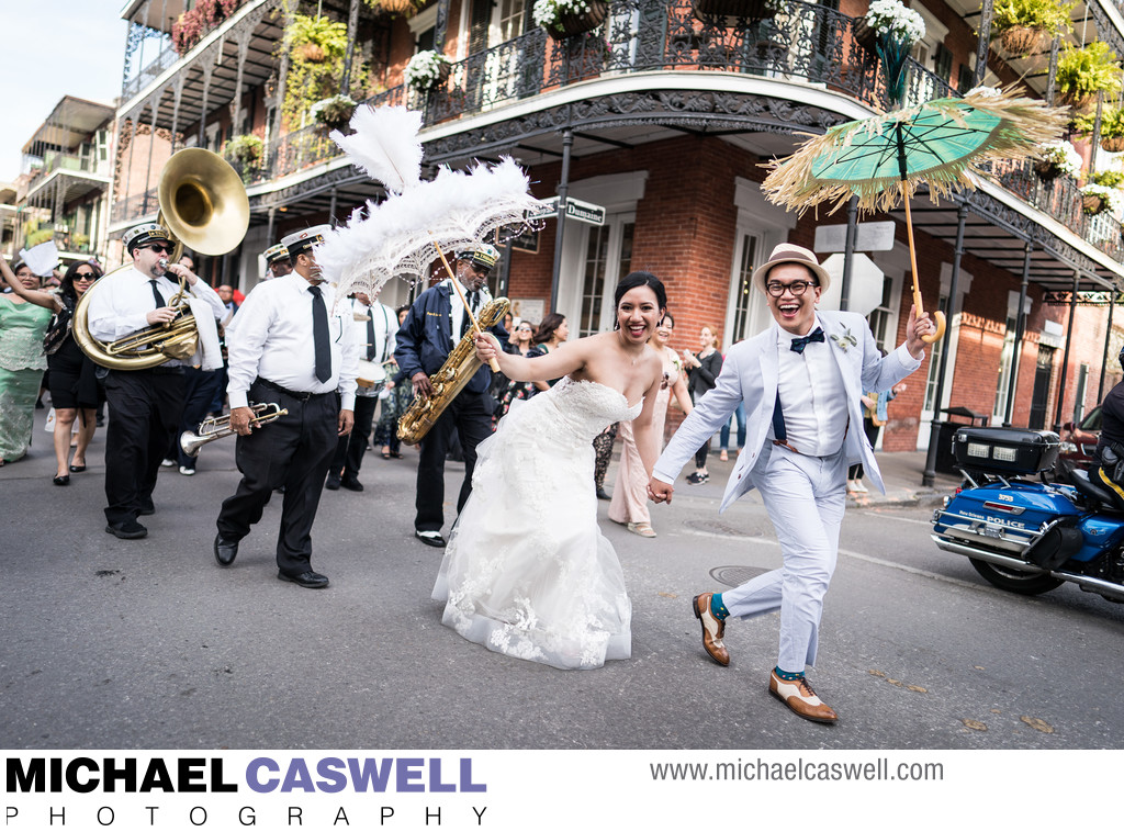 Second Line Parade to New Orleans Wedding Reception