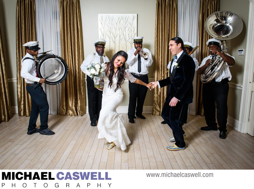 Bride and Groom Dance with Brass Band at Southern Oaks