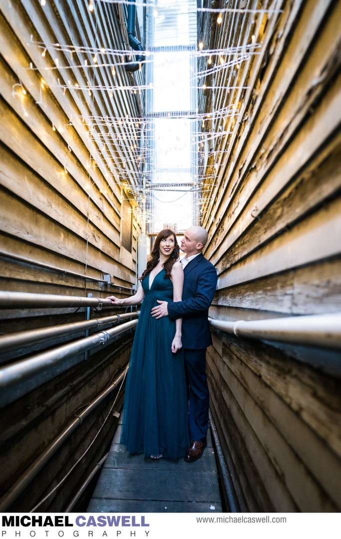 Engagement Portrait in Alley by Red Dog in New Orleans