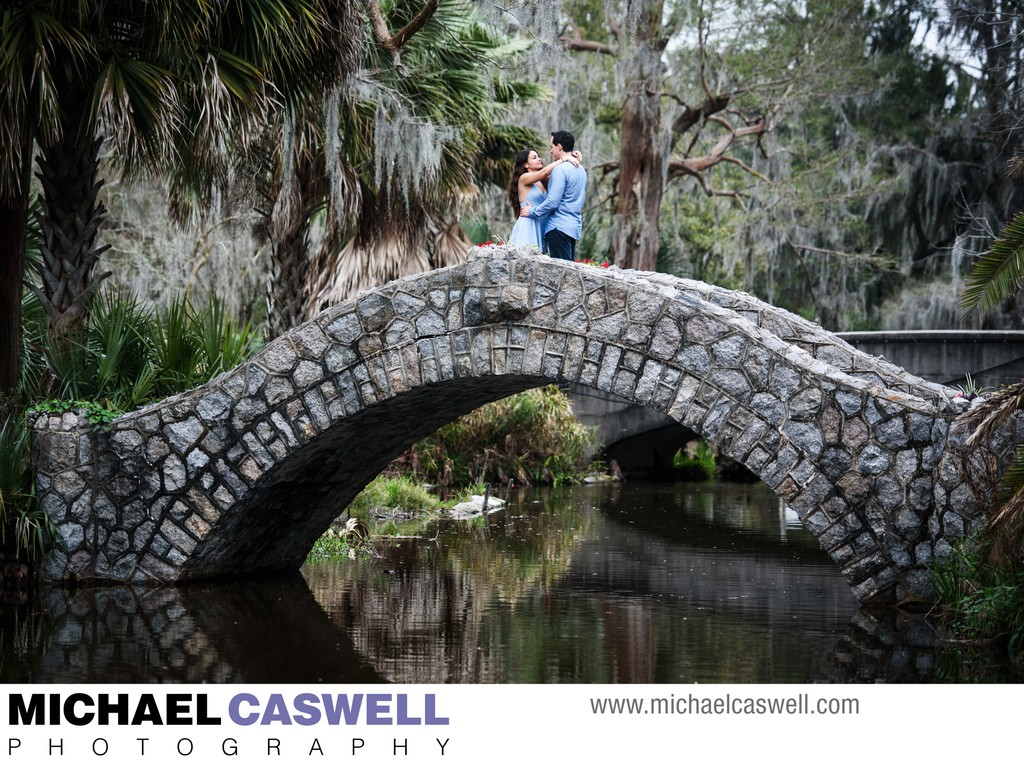 Engagement Portrait on Stone Bridge in City Park