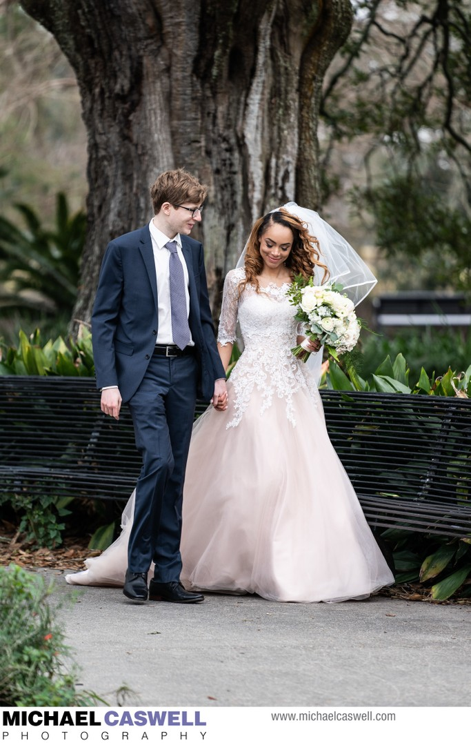 Newly Married Couple Walks in Audubon Park