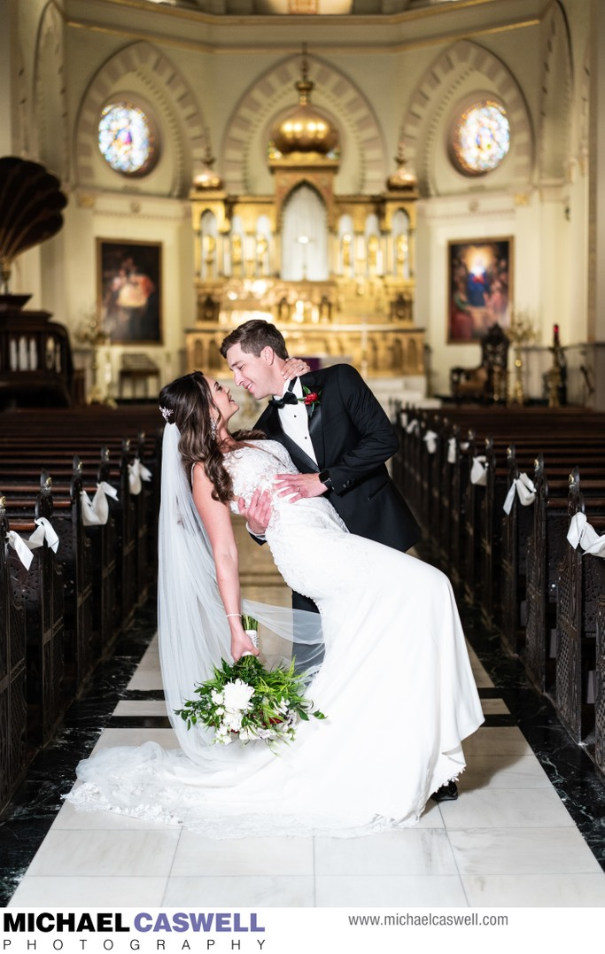 Bride and Groom at Immaculate Conception Wedding
