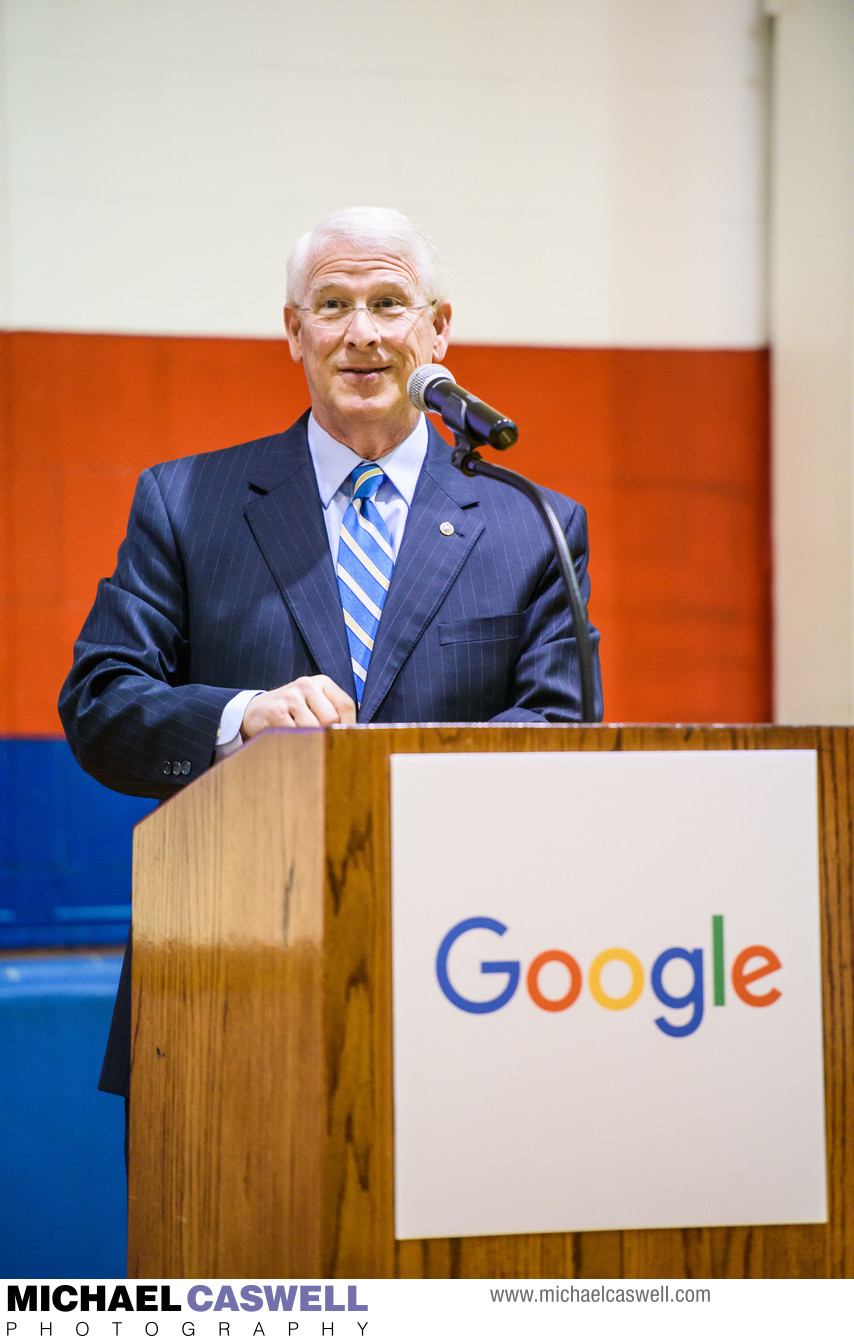 Elected official gives speech at Google event