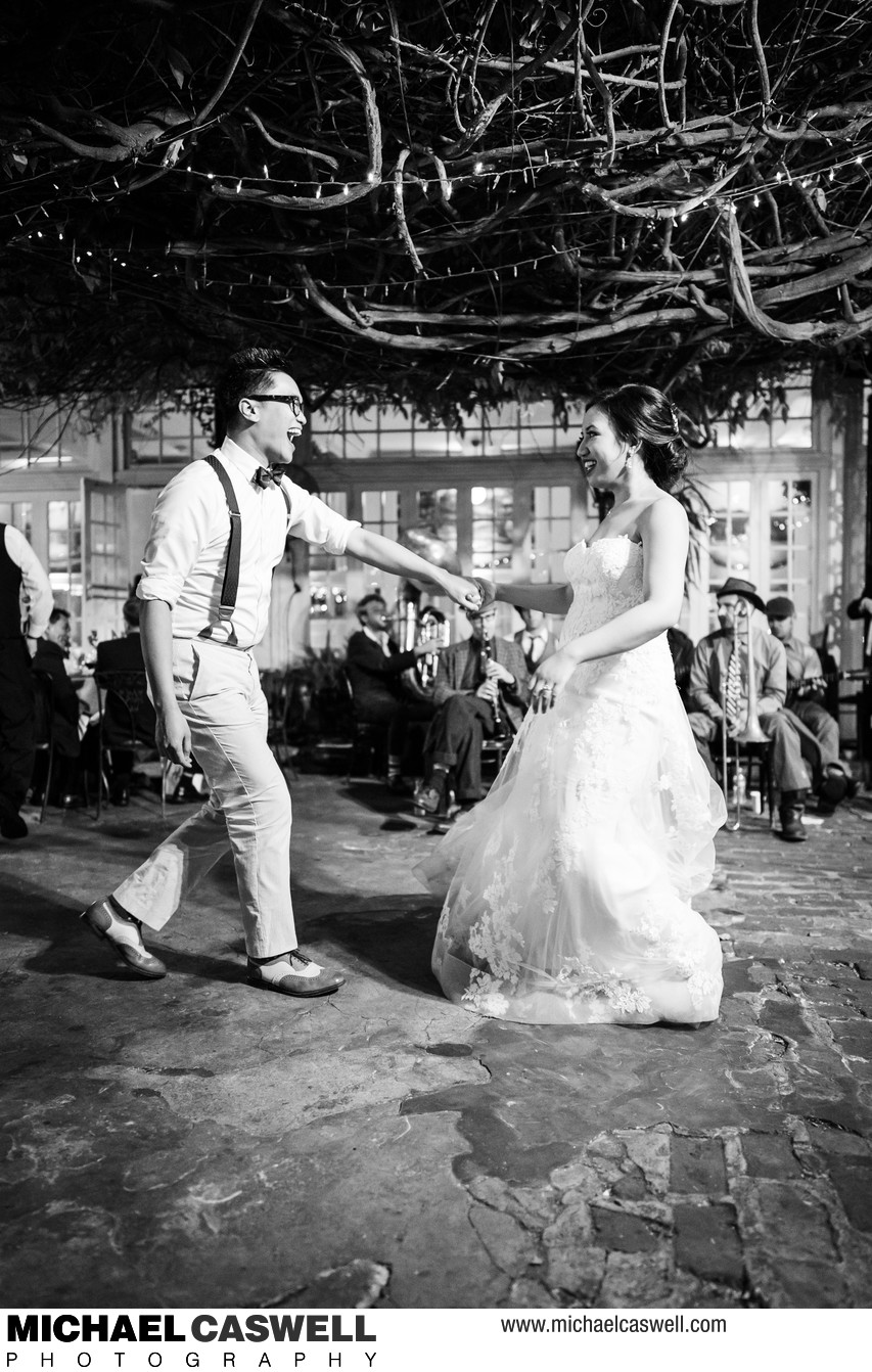 Bride and Groom Dance at Court of Two Sisters Wedding