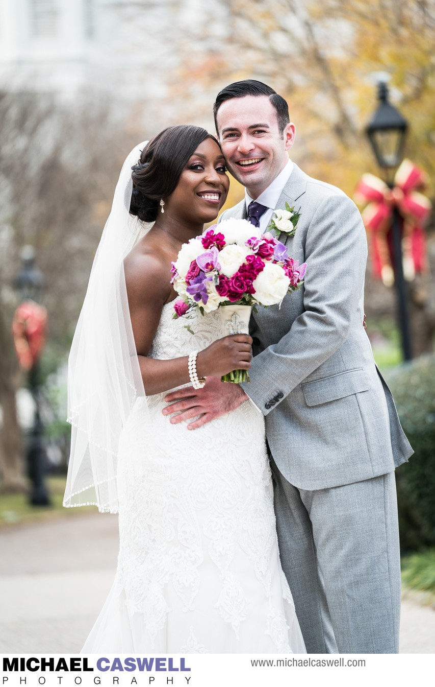 Portrait of Bride and Groom in Jackson Square