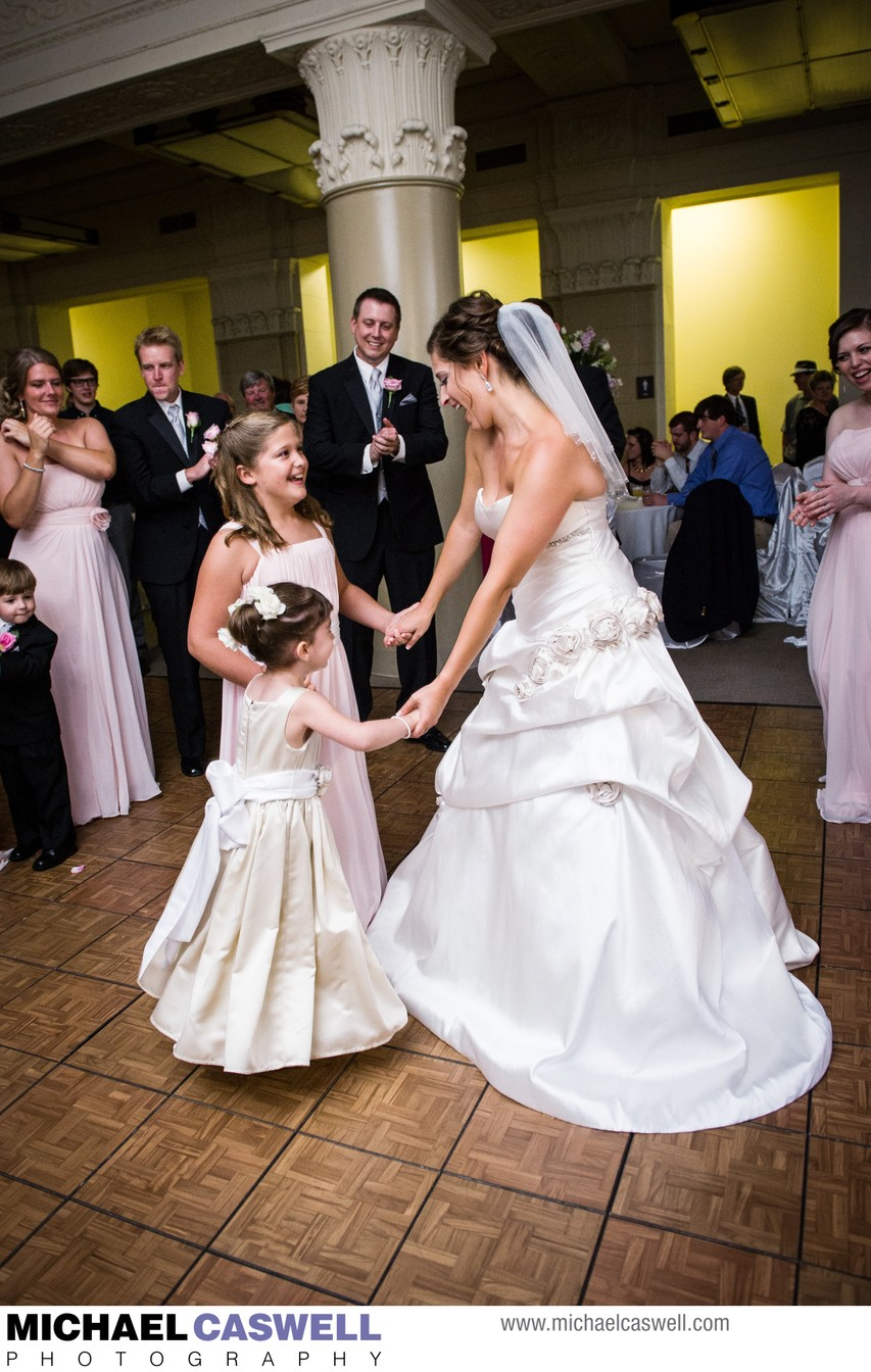 Bride Dances with Flower Girls at Federal Ballroom