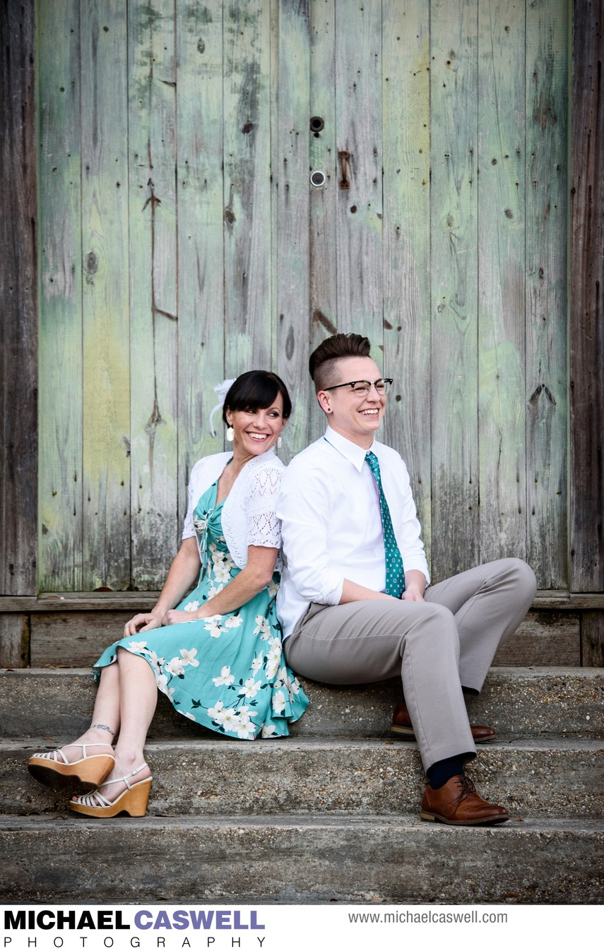 Engagement Portrait in Mandeville at Dew Drop Jazz Hall