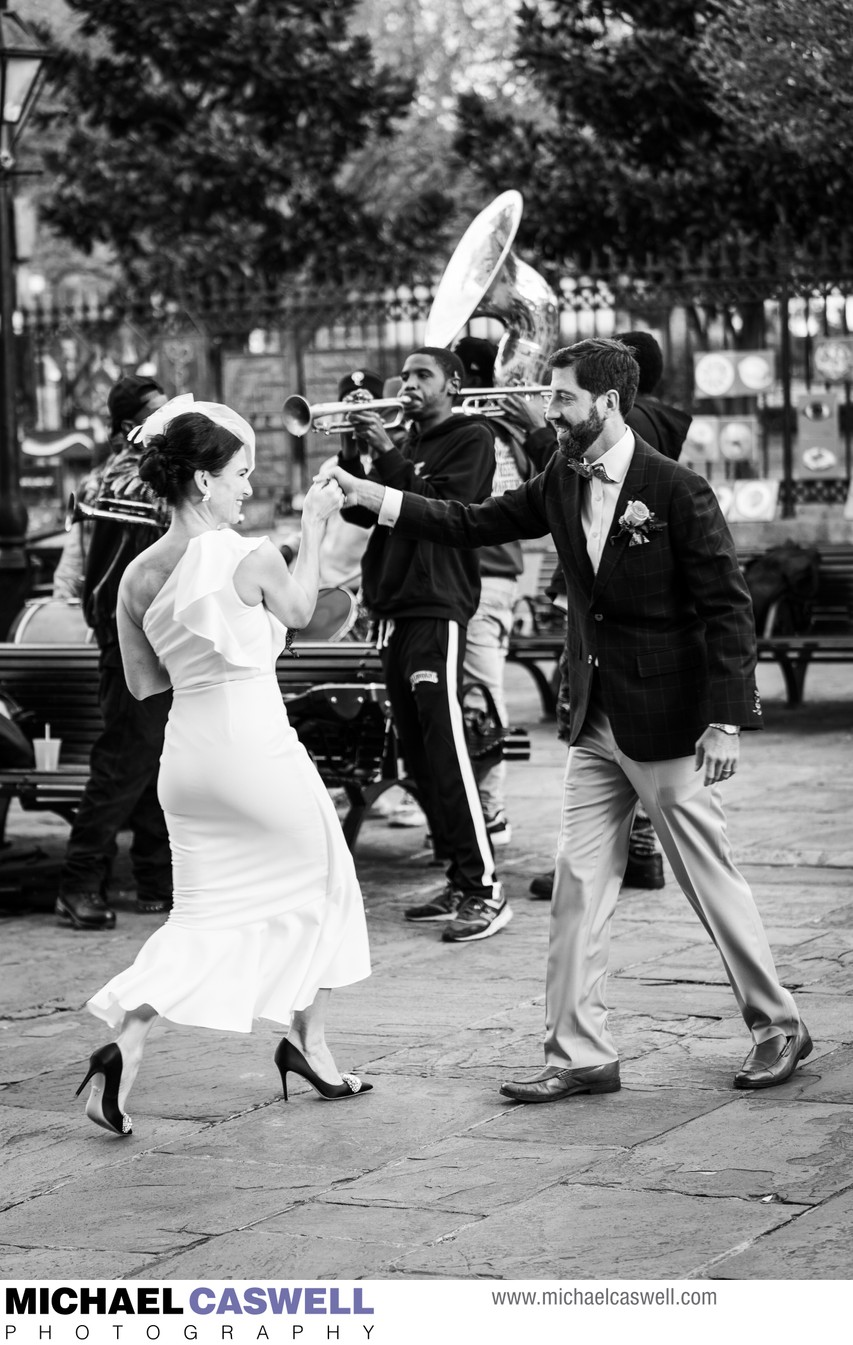 Bride and Groom Dance by Jackson Square