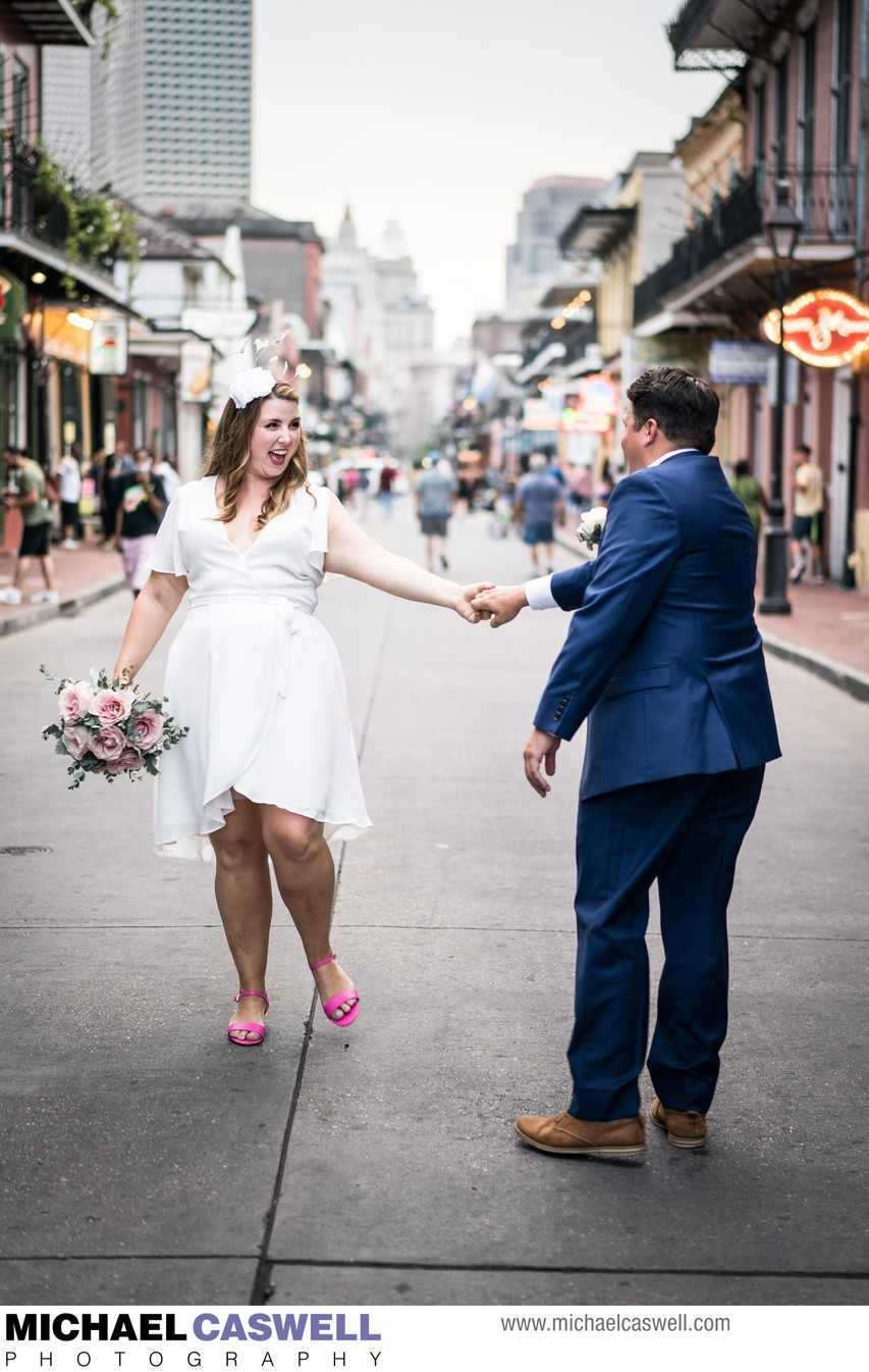 Wedding Portrait of Bride and Groom on Bourbon Street