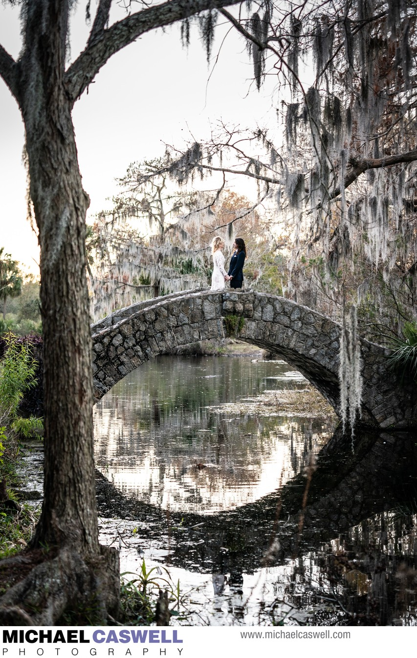 Bride and Groom on Langles Bridge in City Park