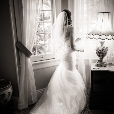Elms Mansion Bride Looks Out on Ceremony Space