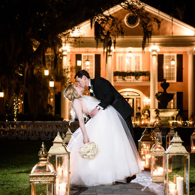Bride and Groom Portrait in front of Southern Oaks