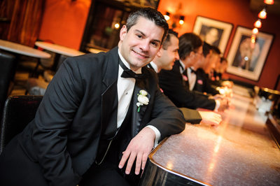 Groom at the Royal Sonesta Bar with Groomsmen