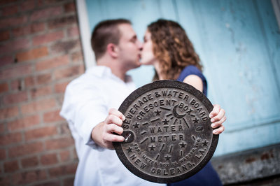 Couple with New Orleans Water Meter Cover