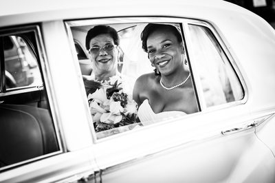 Photograph of Bride and Mom in Limo